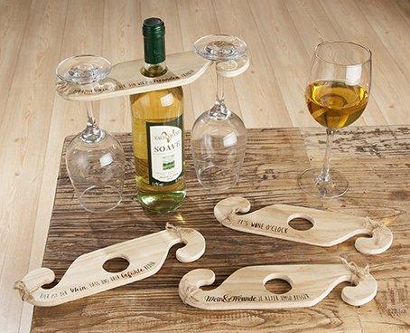 Weinflaschen-Gläserhalter, Glashalter; Holz natur; für 1 Flasche + 2 Gläser