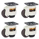 DGXQ Verstellbar 75mm (+ 8mm) Lenkrollen Bockrollen/Hubtisch,Ortsfeste Ausrüstung Rollen/Nylon Möbelrad Schutzboden