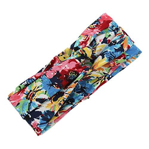 Scrolor Blumen Haarreif Damen Haarschmuck twist knoten stirnband elastische kopf wickeln mode floral haarband für sommer urlaub strand schwimmen(Mehrfarben,free)