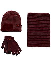 Unisex Scarf Hat Glove Set-Soft Stretch Warm Knit Hat Cap Beanie Mitten  Scarves Touchscreen Gloves Fashion 3 in 1 Winter Cold Gift Set for… afc417790edc