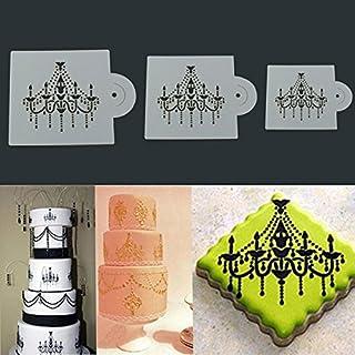 Aliciashouse 3Pcs Chandelier Lace Wedding Cake Cookie Fondant Baking Stencil Decorating Tools
