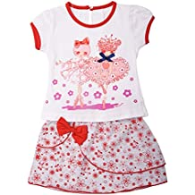 ICABLE High Quality Baby Girls Cute Cotton Top & Skirt Set – Super Fashionable – Available in Cool Summer Colors, Pink & Blue with Combination