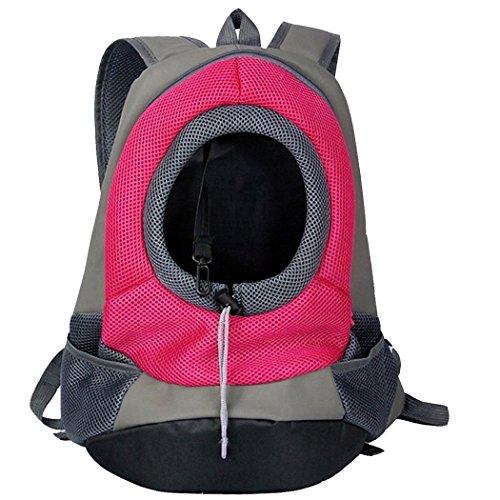 mochila bolsa bolso hombro para llevar mascotas gatos y perros a salir y viajar con abertura (rose red M)