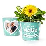 Facepot Babygeschenke zur Geburt - Blumentopf (ø16cm) - Geburtsgeschenk, Babyparty und Taufe für Zwillinge mit Bilderrahmen für Zwei Fotos (10x15cm) - Stolze Mama von großartigen Zwillingen