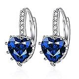 Hemore 1 Paire Boucle d'Oreille Cadeaux Idéal pour Femmes Bijoux Elégante Belle Simple Bleu foncé Diamant En Forme De Coeur