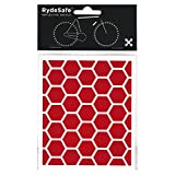 RydeSafe Reflective Bike Decals Hexagon Kits – adesivo riflettente per bicicletta, Rot, s