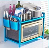 WEI Home Kitchen Racks Space Aluminium Doppel-Backofen Rack Ofen Reiskocher Rack Kreative Doppelschicht Multi-Funktions-Finishing Rack,Blau,Aktualisierung