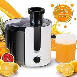 Aigostar Grape 30JDA - Extracteur centrifugeuse de jus de fruits et légumes frais 100% sans BPA. 400 W, moteur à deux vitesses, jarre de 500 ml, lames et filtre en acier inoxydable de type 304.
