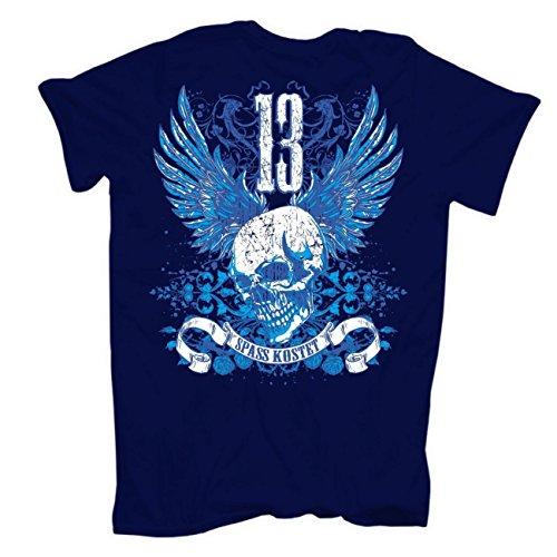 Männer und Herren T-Shirt Spass kostet Erlebnisorientiert (mit Rückendruck) körperbetont dunkelblau
