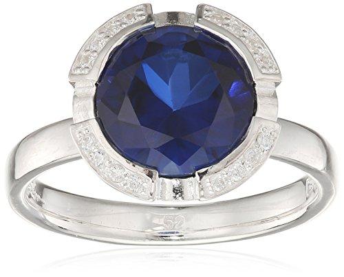 Thomas Sabo Damen-Ring Glam & Soul 925 Sterling Silber Zirkonia weiß dunkelblau Gr. 52 (16.6) TR2038-050-32-52