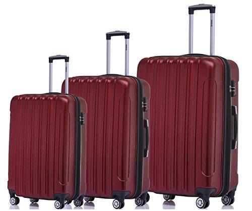 BEIBYE TSA Schloß, Zwillingsrollen, Dehnungsfuge, Hartschale Trolley Koffer Kofferset Reisekoffer Gepäckset (Weinrot)