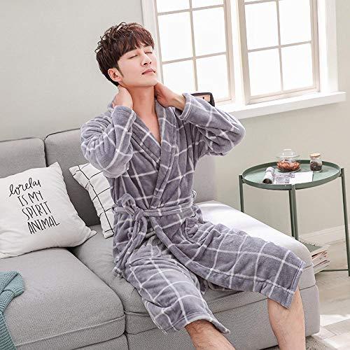 Morgenrock Satin Pyjamas- Coral Samt Liebhaber Dicke Bademäntel Bademäntel Morgenmäntel, M, Graue Roben