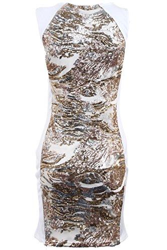 Robe moulante sexy pour femmes paillettes doré argenté Crème/Doré