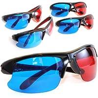 4er SET 3D Brillen für TV oder PC Spiele (rot/blau), Anaglyphenbrille für Fernseher, sportliche 3D-Gläser mit Anaglyphen-Technologie in Halbrahmenoptik - Marke Ganzoo