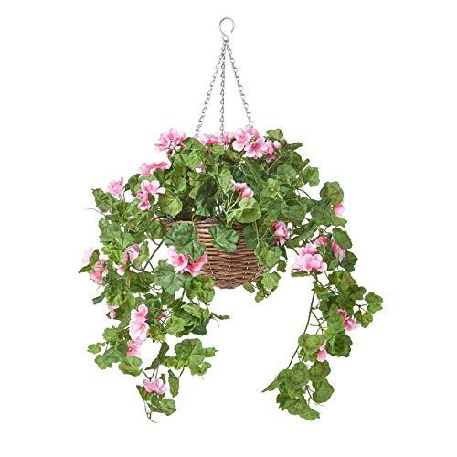 Homescapes Hängende Künstliche Blume Geranie im Topf, Deko Künstliche Hängepflanze im Weide Blumenampel mit Kette und Haken, Hängende Kunstpflanze im Hängeampel, rosa