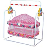 HOUZIE Baby Kick And Play Crib Cum Palna Cum Baby Bedding Set With Mosquito Net(Assorted Colour)