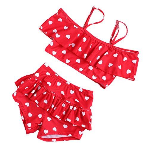 TININNA Bikini,Costumi a Due Pezzi per bambine e ragazze ,Costume da Bagno con Motivo a Pois.-rosso