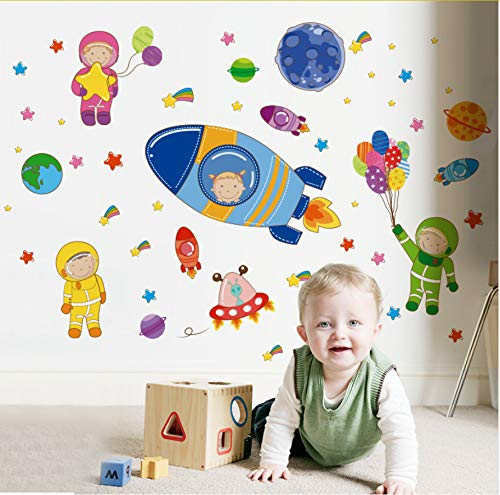 Namefeng Cartoon Astronauten Rockets Planeten Wandaufkleber PVC DIY Wandtattoos Für Kinderzimmer...