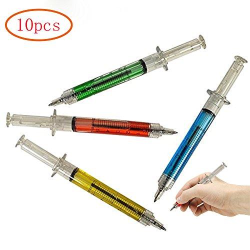 MINGZE 10pcs gefälschte Nadel Spritze Kugelschreiber, schreibt in blau oder schwarz Tinte, rot, gelb, blau, grün, Schulbedarf, Preise und Werbegeschenk für Jungen und Mädchen