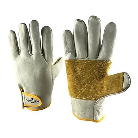 Premier Leather Gardening Gloves for Men - Heavy Duty Work Gloves Perfect for Garden Tasks, Agriculture and General Maintenance. Perfect Gardening Gift for Men. (Medium)