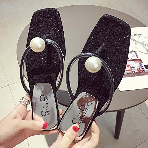 499d239b40c64 Shukun Chancletas del dedo del pie Slippers Women's Summer Slip Flat Flip  Flops Outdoor Flippers Pearl