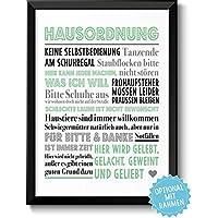 HAUSORDNUNG - Bild mit humorvollen Hausregeln - Rahmen optional - Personalisierung - Geschenkidee Einzug Umzug Einweihung Richtfest