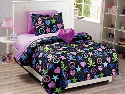 MK Collection Peace SIGHN Herz Skull Zebra Schwarz Pink Blau Grün Tröster und Betttuch-Set New, 100 % Polyester, Comforter Set, Twin - Pink Schwarz Tröster Set