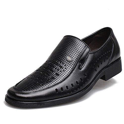 Scarpe da uomo 2018 sandali di cuoio estivi scarpe business casual scollato scarpe da guida marrone scuro glshi ( color : black , dimensione : 41 )