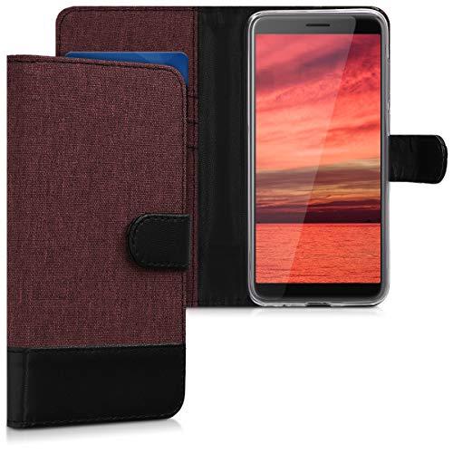 kwmobile HTC Desire 12 Hülle - Kunstleder Wallet Case für HTC Desire 12 mit Kartenfächern & Stand - Dunkelrot Schwarz