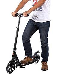 Yosoo Trottinette en Aluminium Scooter Pliable à Suspension Portable Antichoc Sports de Plein Air (pour garçons plus de 130 cm, alliage d'aluminium, hauteur ajustable 89-104 cm, avec grandes roues 21 cm) pour Adultes