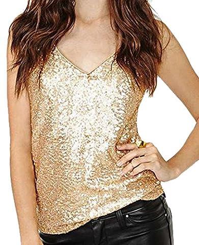 Fulok Womens V-neck Sequin Trim Slim Strap Backless Top Tank L gold