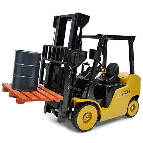 DUCKTOYS 11 Kanäle Fernbedienungsstapler/Kran 2 In 1 Spielzeug-1:8 Verhältnis Automatisches Demonstrations-Und Simulationshorn-Engineering-Auto, Kinderfernbedienungs-LKW-Spielzeug