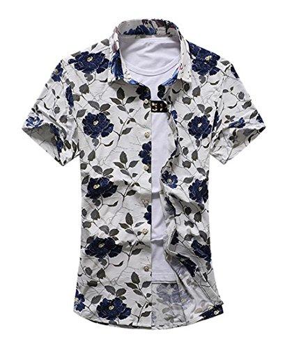 YuanDian Herren Blattaufdruck-Hemd Urlaub Strand Revers Freizeit Hawaii Kurzarm-Shirt 3XL (Reverse-hawaii-shirt)