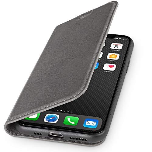 WIIUKA Echt Ledertasche - TRAVEL Nature - Hülle für Apple iPhone 11 - ITALIENISCHES Leder - Vintage Grau, mit Kartenfach, extra Dünn, Tasche, Premium Leder kompatibel mit iPhone 11 -