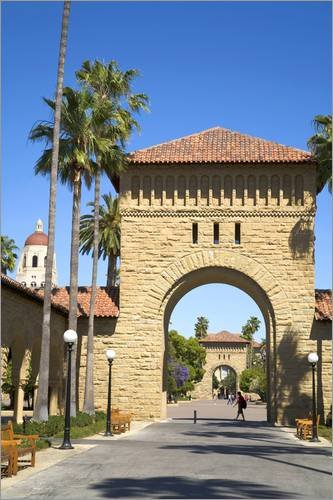Stampa su tela 80 x 120 cm: Archway entrance to Stanford University di David Barnes / Danita Delimont - poster pronti, foto su telaio, foto su vera tela, stampa su tela