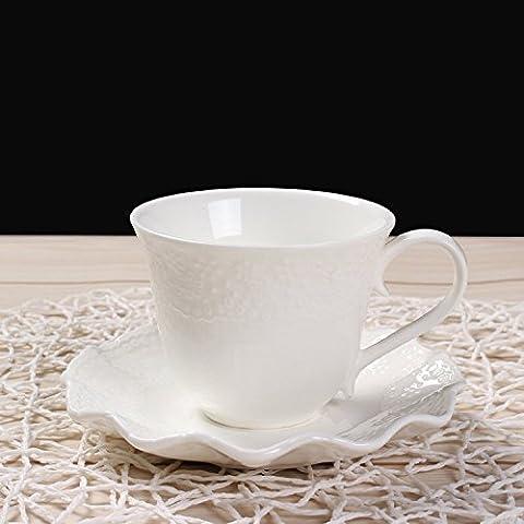 Tea Cup and Saucer set, Floral Relief Tea Cups Fine Bone China Mugs Elegant Classical (Grande Cina Tazza Di Caffè)