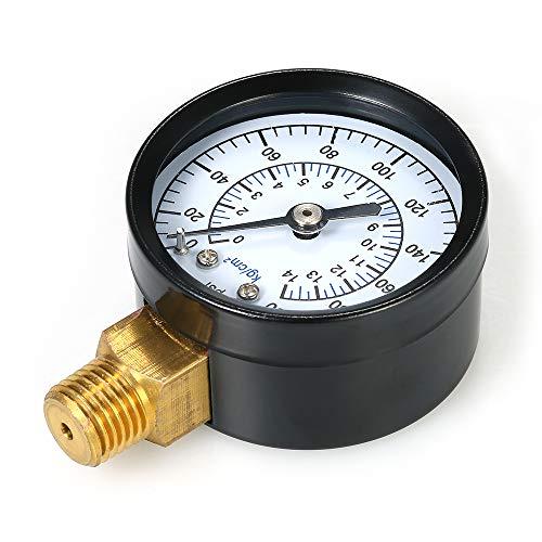 Fesjoy Mechanische Manometer 0~200 psi 0-14 kg / cm2 Gas Manometer Dual Scale Pool Filter Aquarium Wasser Luftdruckprüfer Meter 1/4 zoll NPT Bottom Mount