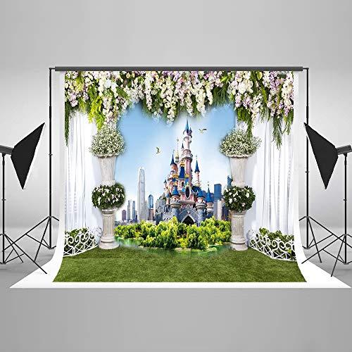 S 2,2x1,5m Geburtstag Foto Kulisse Märchenschloss Kulissen Microfiber Fantasie Blumen Fotostudio Fotografie Hintergrund Requisiten ()