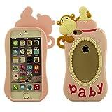 Schutzhülle Apple iPhone 6S 6 4.7 inch Hülle Cover ( Pink ), Ultra Soft-Silikon Kreatives Design Niedlich Affe Babymilchflasche Gestalten Case Tasche für iPhone 6 6S