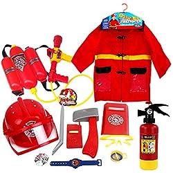heresell Costume de Pompier Lavable 12 pièces et Accessoires de Pompier Premium avec de Vrais extincteurs à Eau