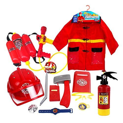 Kind Feuerwehrmann Rollenspiele Kostüm,Rollenspiel Kostüm und Zubehör 12 stück Set enthält Feuer Hut Feuer Kleidung Wasserpistole Feuerlöschgeräte - Feuerwehr Kostüm für Kinder