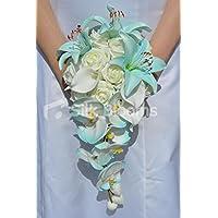 Exotic colore: avorio/rosa, Aqua Stargazer Lily and Fresh Touch Orchidea Phalaenopsis con vaso Cascade, motivo: Bouquet della sposa