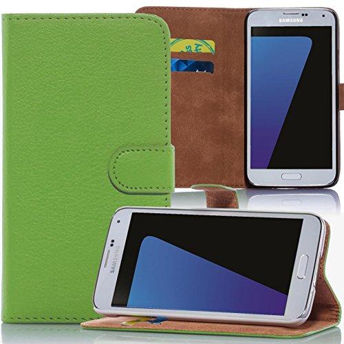 Numerva LG G4C Hülle, Schutzhülle [Bookstyle Handytasche Standfunktion, Kartenfach] PU Leder Tasche für LG G4C H525N Wallet Case [Grün]