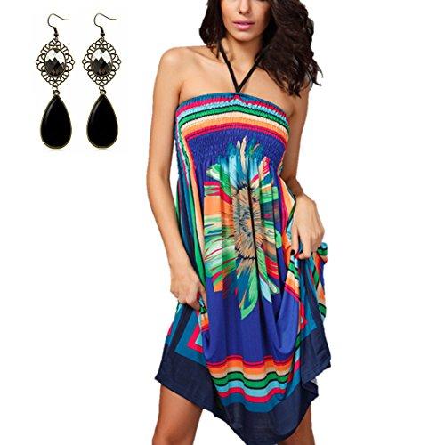Sitengle Damen Sommerkleid Casualkleid mit Wohnung Schultern und Volants Schulterfrei Printkleid Bunte Kleid Blau