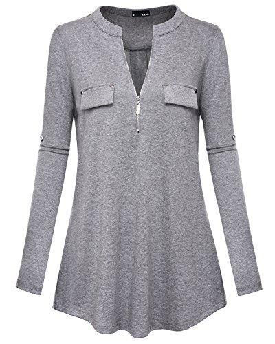 Miurus Langarm-Bluse, Fashion Ausschnitt Design Damen Blusen Große Graue Tunika Blusen Aufrollene Ärmel mit Reißverschluss Freizeit Bluse Top (Tunika Top Graue)