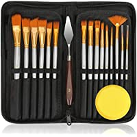 Paint Brushes Set 15 Sizes Oil Acrylic Painting Brush Kit Professional with 1 Standing Organizer 1 Mixing Knife 1 Watercolor Sponge for Canvas Painting Artists