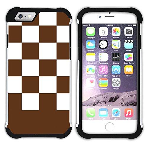 Graphic4You Kariert Muster Design Hart + Weiche Kratzfeste Hülle Case Schale Tasche Schutzhülle für Apple iPhone 6 Plus / 6S Plus (Aqua Blau) Braun