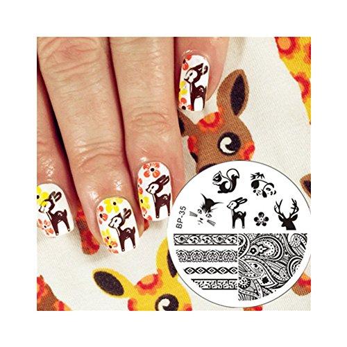 Born Pretty Plaque De Stamping Nail Art Thème Animal Cerf & Ecureuil BP35