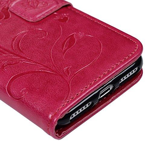 Mavis's Diary iPhone 7(4,7 Zoll) Case Tasche Blumen Schmetterling Solide Rose PU Ledercase Cover Hüllen Schutzhülle Scratch Bumper Fall Euit Bookstyle Magnetverschluss Telefon-Kasten Handyhülle Standf Rose