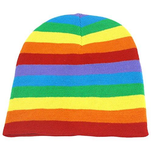 sourcingmap Unisex Rain Color Stretch Hand Knit Warm Winter Mütze Snowboard Beanie